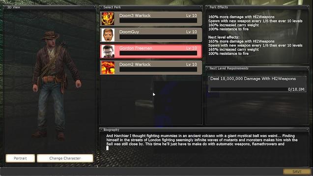 Steam Workshop Custom Perks Addon Doomguy Gordon Freeman Etc