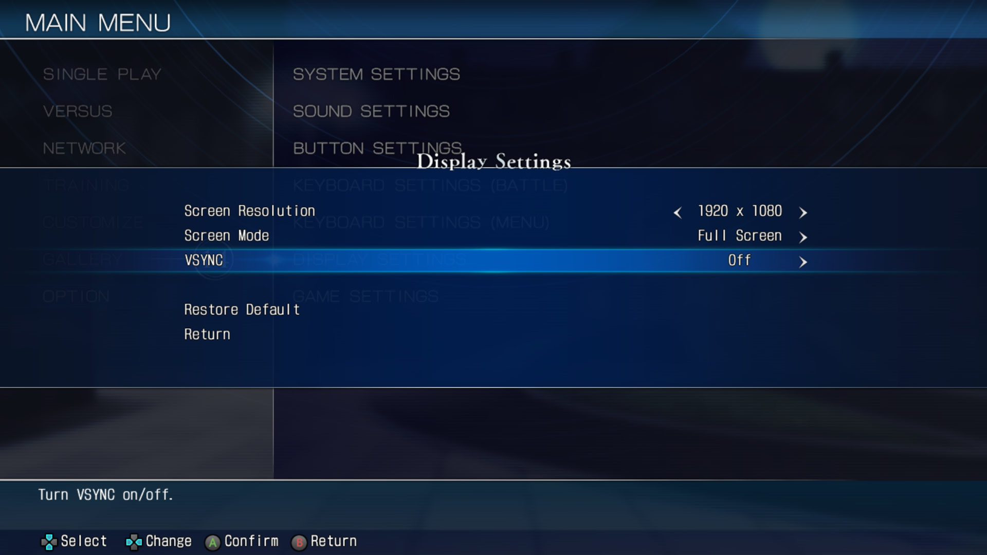 MELTY BLOOD: TYPE LUMINA Game Speed And Game Settings