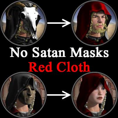 No Satan Masks Red Cloth