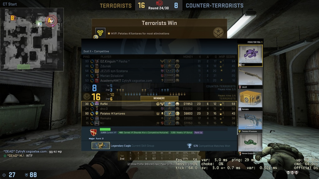 Okt. 2016. Valve hat für Counter-Strike: Global Offensive das Update 1.35.5.5.