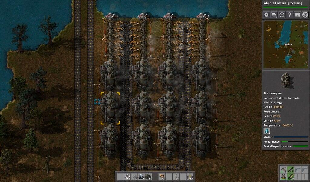 factorio steam engine performance