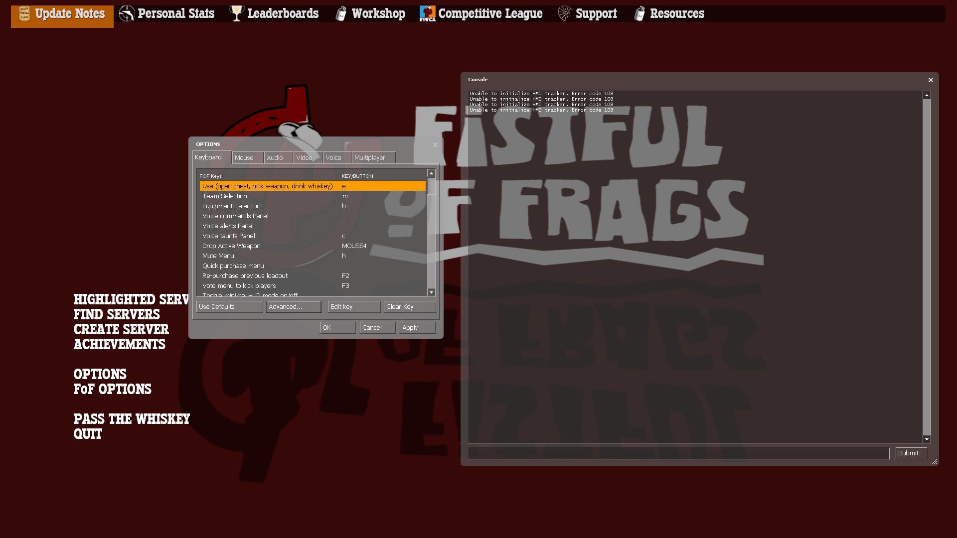Steam VR causing crash when entering options menu :: Fistful of