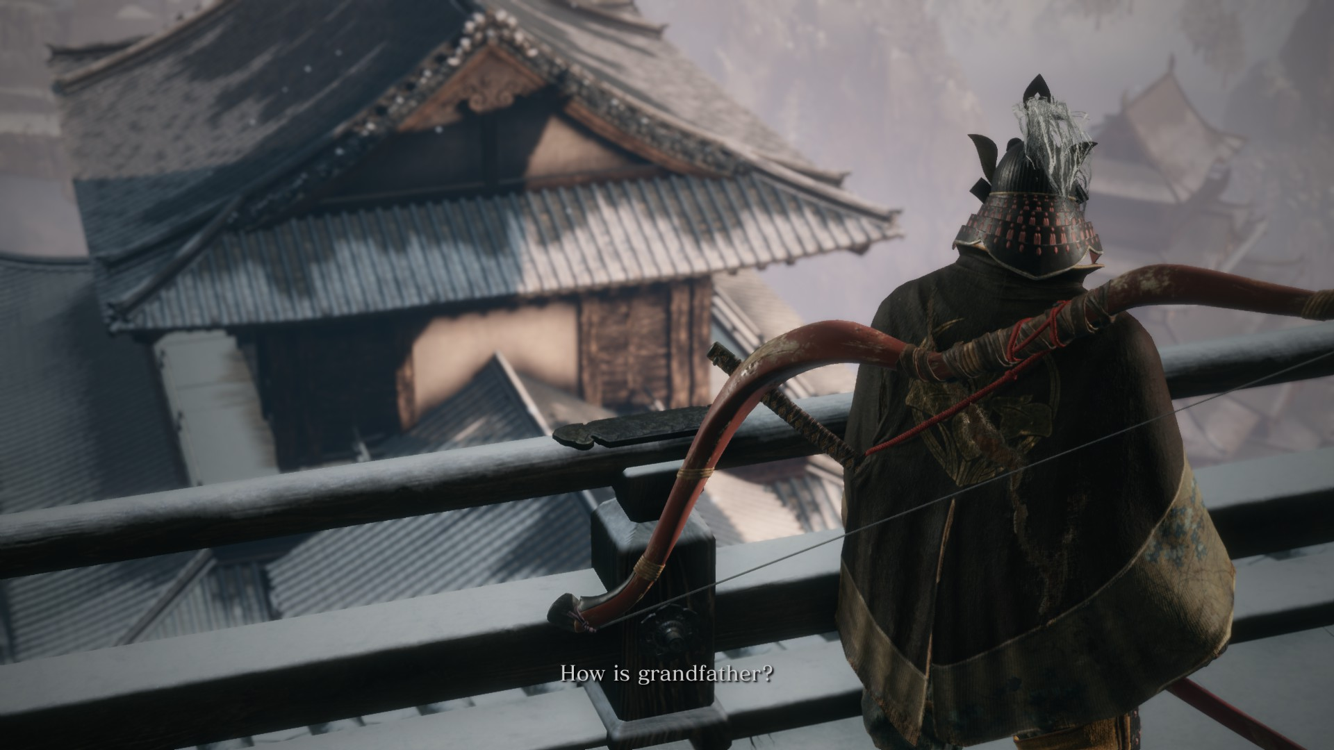 "General Bow-Guy asking Sekiro's protagonist how ""grandfather"" is."