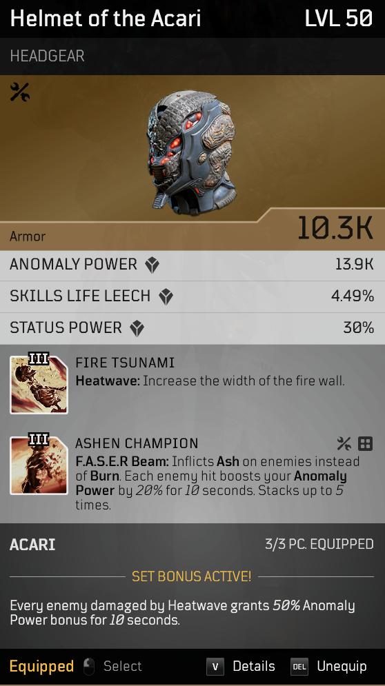 Acari Champion | Endgame Anomaly Pyromancer build image 1