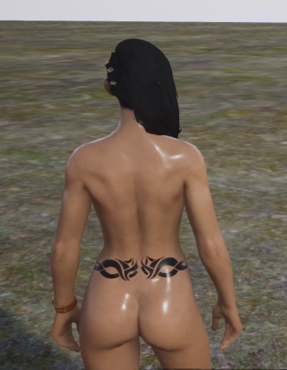 Back Tattoo - Oiled - Trimmed for females (May 2018)