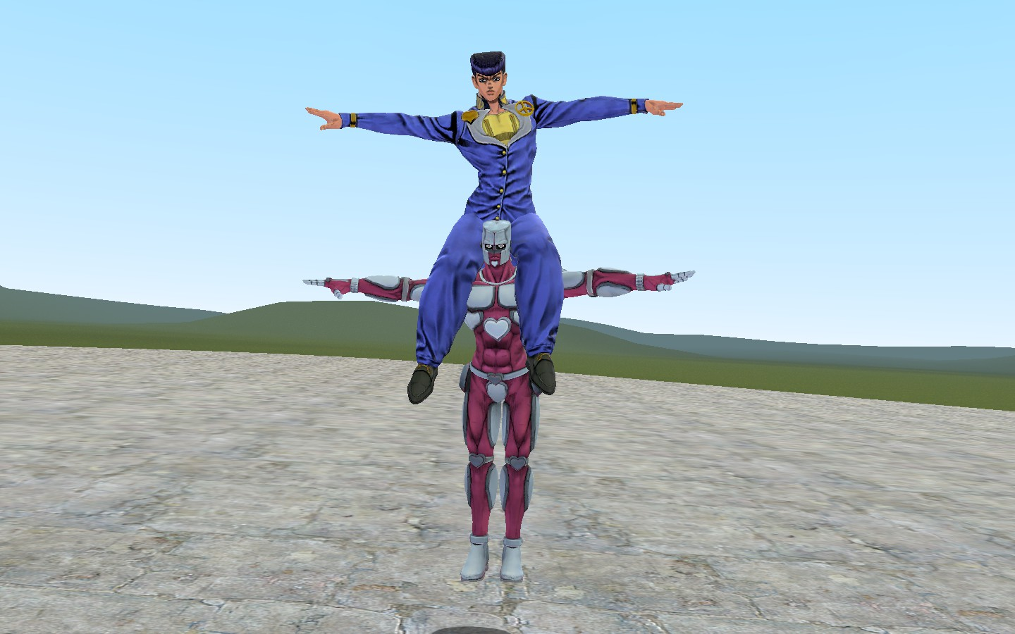 Steam Community Screenshot Crazy T Pose And His Stand User Josuke T Pose They Aren T Related Josuke higashikata is the protagonist of diamond is unbreakable and the fourth jojo of the jojo's bizarre adventure series. crazy t pose and his stand user josuke