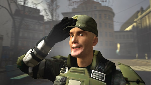 A saluting and happy UNSC Marine.
