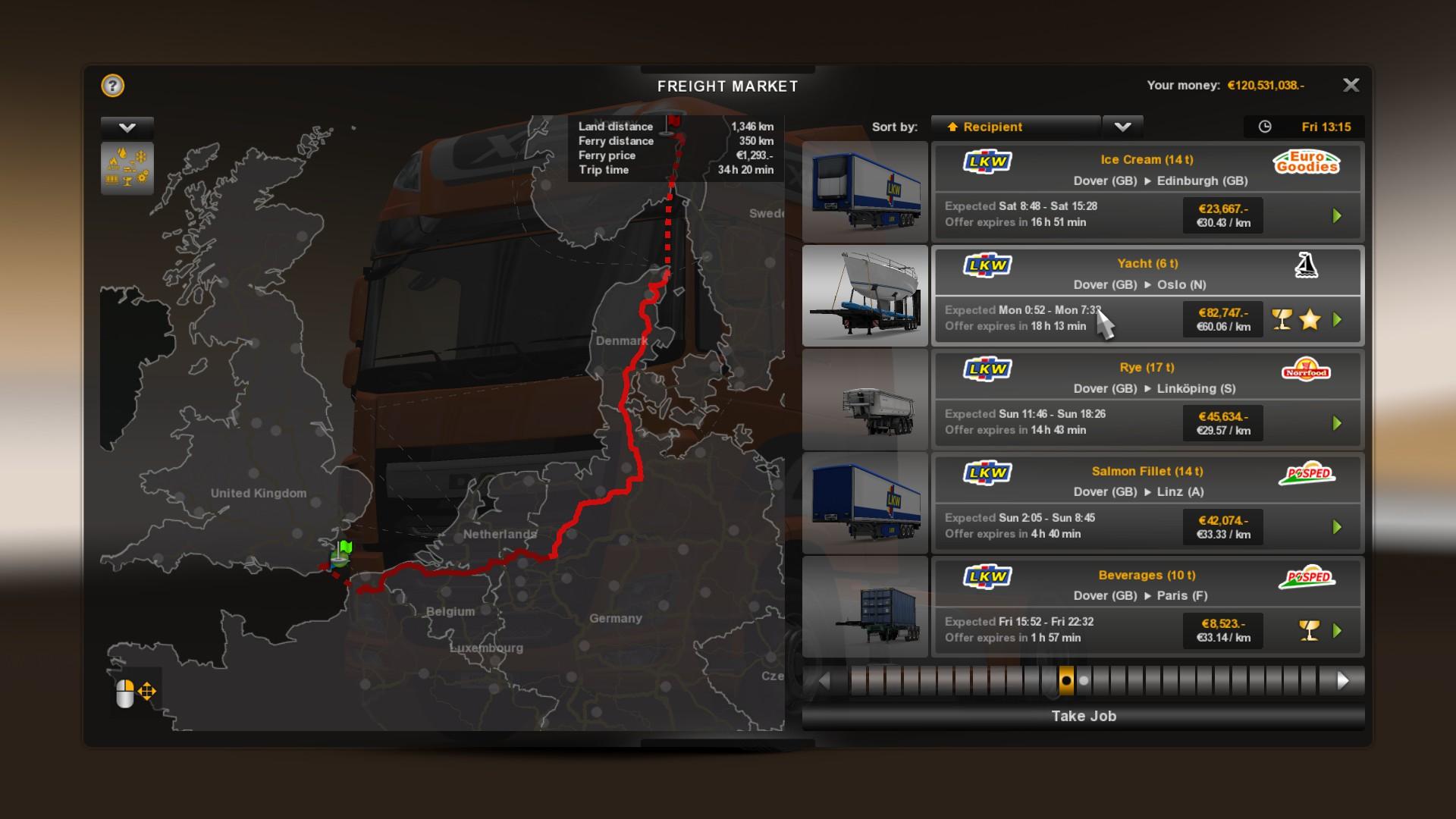 euro truck simulator 2 cargo list