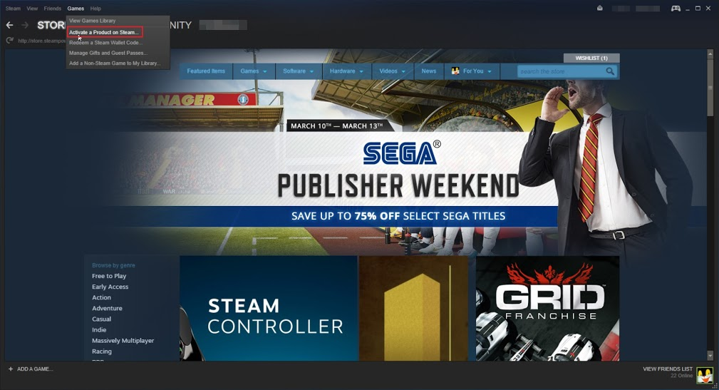 activate a product on steam website