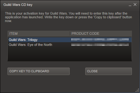 A window will appear when that option is selected showing your Guild Wars  Access Key(s) purchased through Steam: