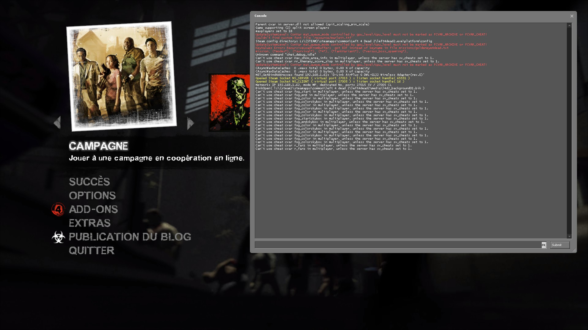 steam community guide use the console cheat codes list in l4d2