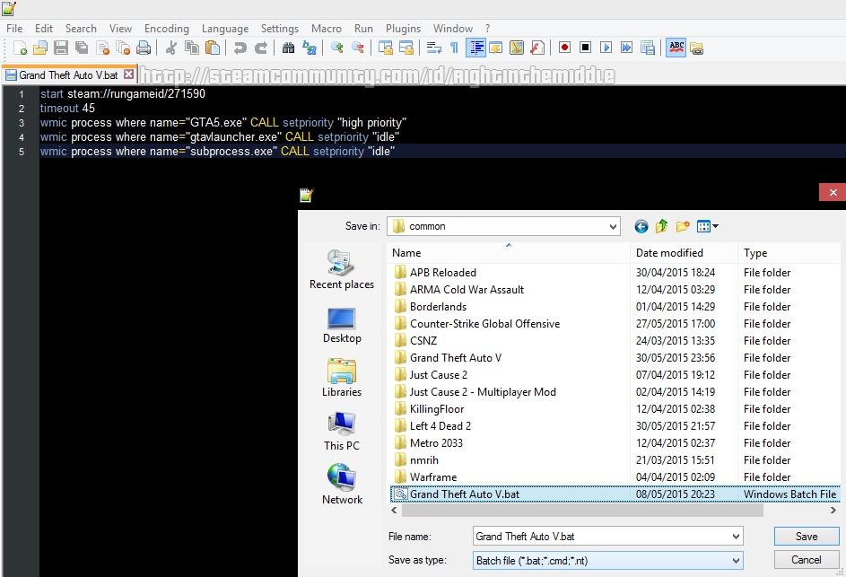 Steam Community :: Guide :: GTA V  bat File: Automatically set GTA5