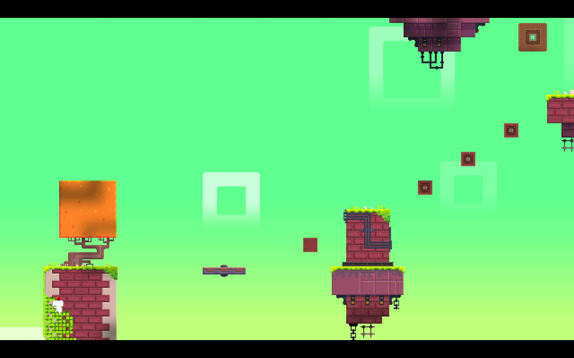 Head to the top of the other platform Flip to the right and stand on its piston You ll fly next to a new brick tower with vines on it