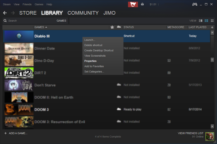 how to delete a game from steam library list