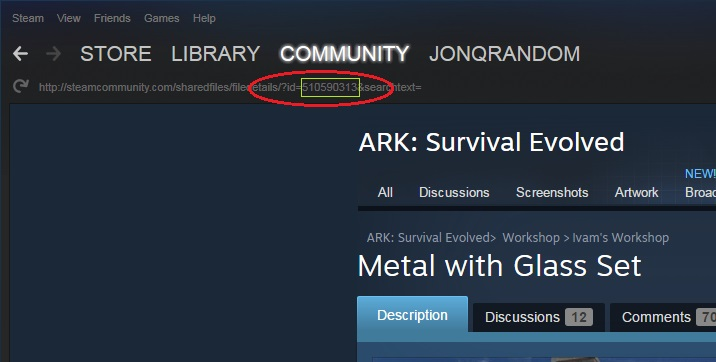 Steam community guide how to get the mod id and giveitem seeing the url bar malvernweather Gallery