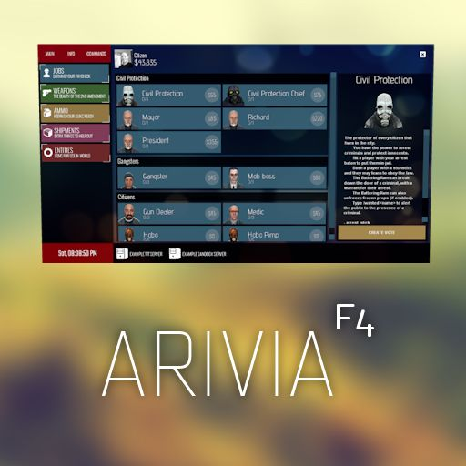 [Gmodstore] [#1679] Arivia F4 DarkRP Menu [Resources ONLY]