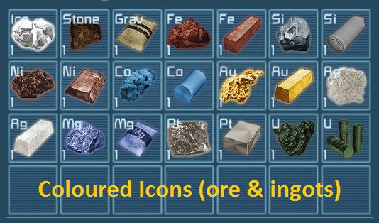 Coloured Icons (ore & ingots)