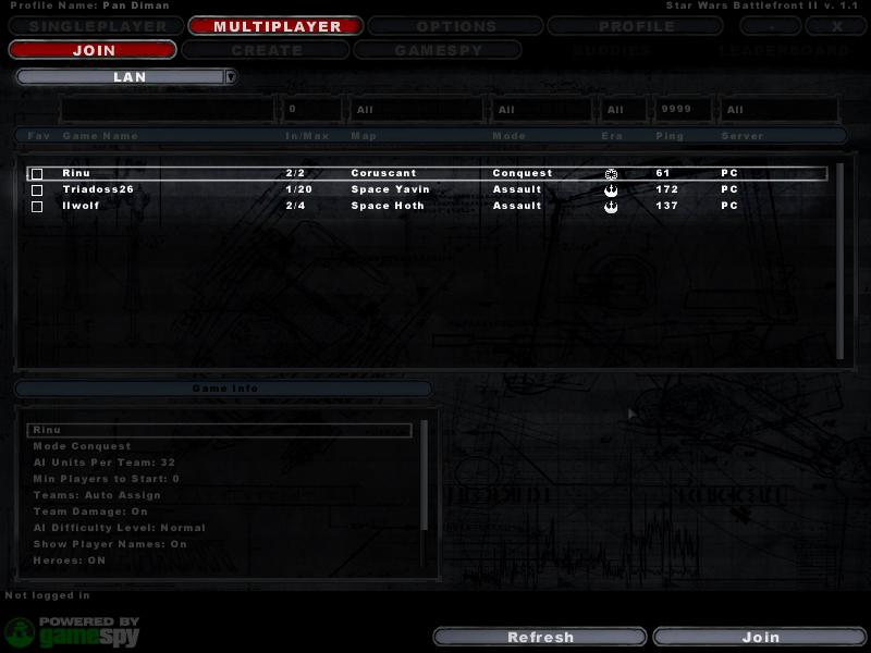 star wars battlefront 2 can t find lan game