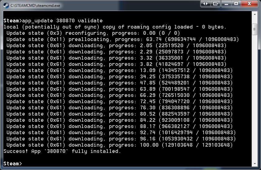 Скачать сервер через steamcmd