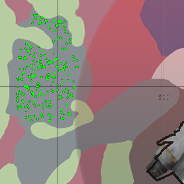 This map fragment presents spreading of the game start locations and a part of radiated zone.