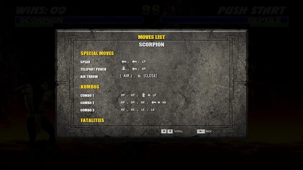 Steam Community :: Screenshot :: Scorpion Mk3 Move List