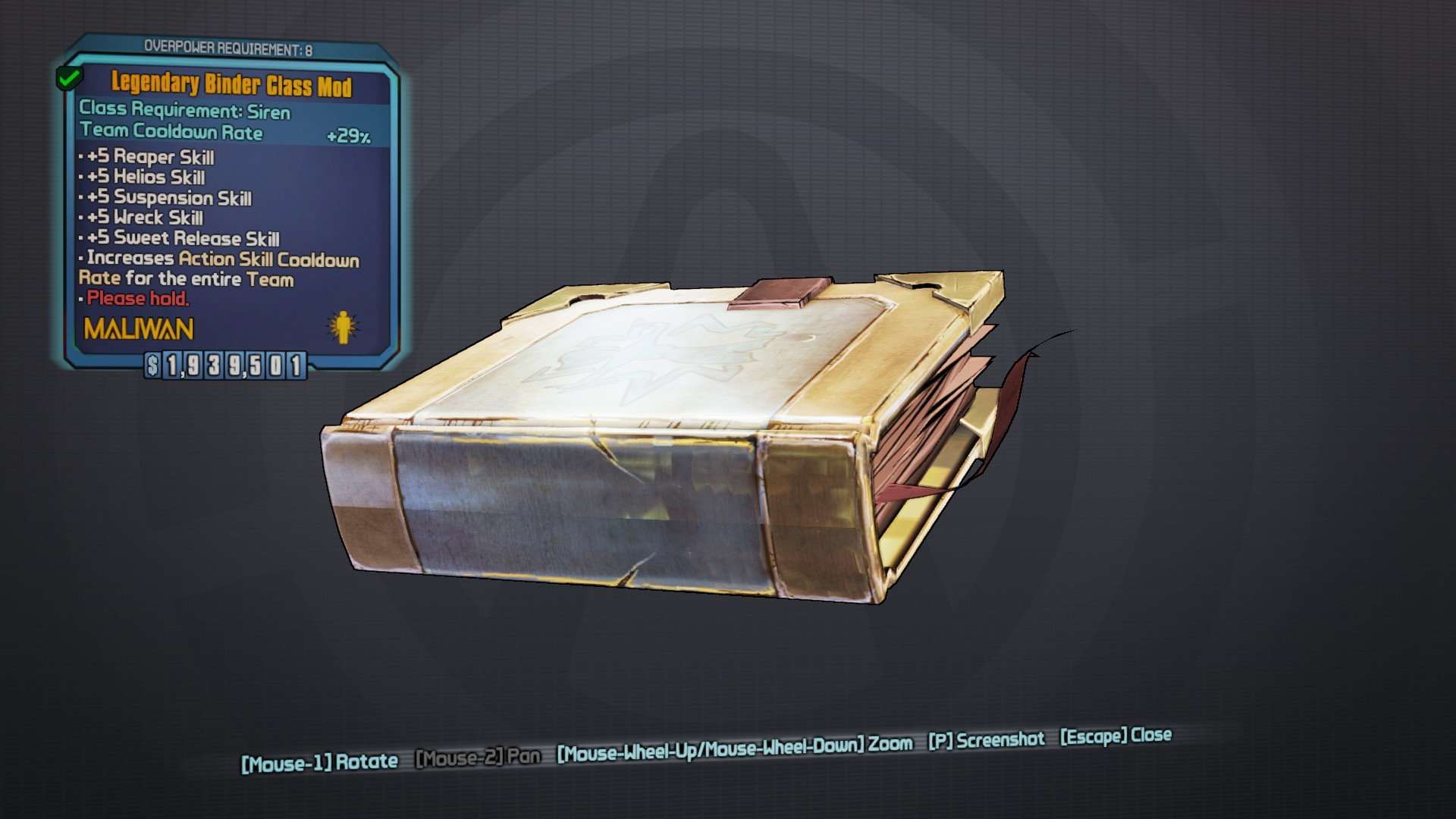 Borderlands 2 legendary cat class mod gibbed code