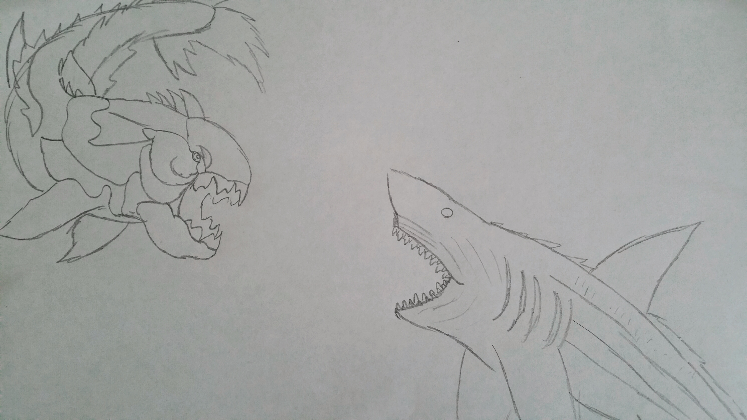 Steam Community :: :: Dunkleosteus and Megalodon Sketch