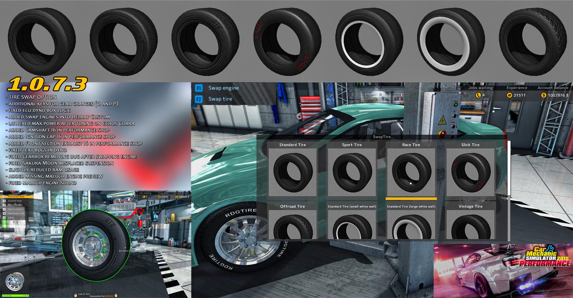 Car Mechanic Simulator 2015 Mods >> May 16 2016 Tire Swap Update 1 0 7 3 Car Mechanic