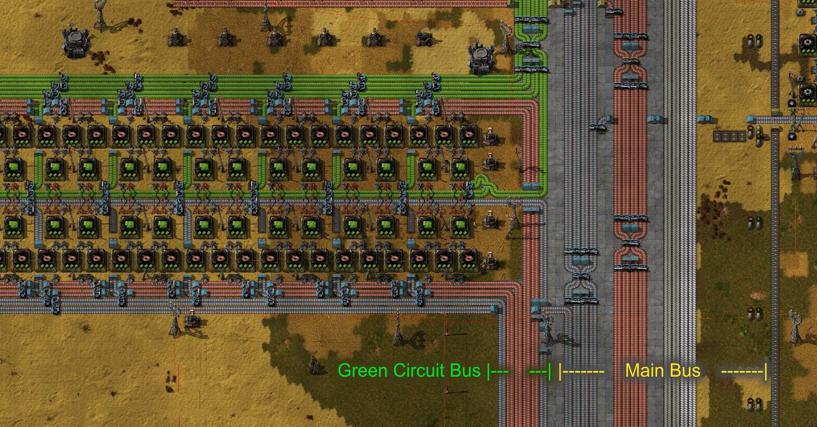 In Particular, I Feed My Green Circuit Assembly With 3 Belts Of Iron Plates  + 4 Belts Of Copper Plates. These Are Separate From The Lines On The Main  Bus.