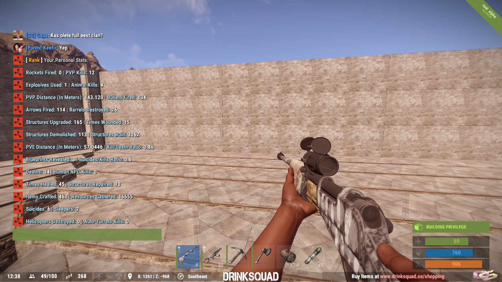 Steam community guide how to get started in rust ignore the stats on the left thats what the inside of the first base looks like it uses a design that lets it have 2x more walls malvernweather Choice Image