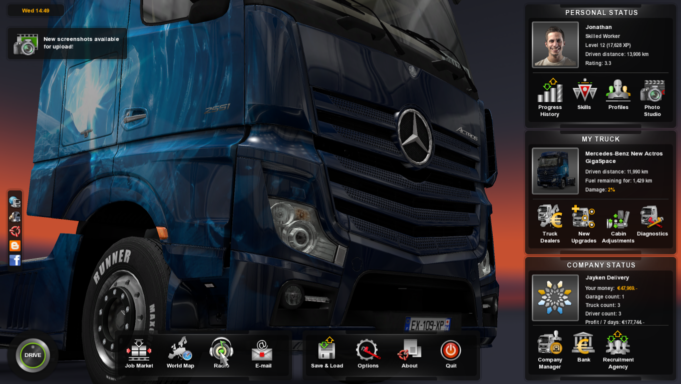 Steam community guide how to add music to euro truck simulator 2 then click on radio besides world map 3you should see music and radio stream option click on music 4ere you have it gumiabroncs Image collections