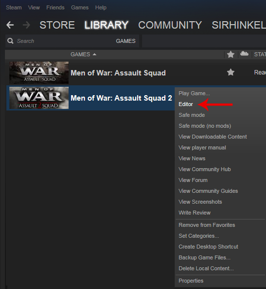 Steam community guide men of war assault squad 2 editor map guide directly via steam clicking once on your men of war assault squad 2 in your steam library and selecting editor in the drop down menu that appears gumiabroncs Choice Image