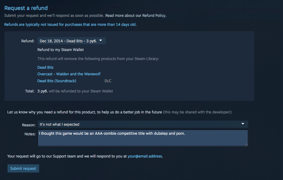how to get a refund on steam for a game