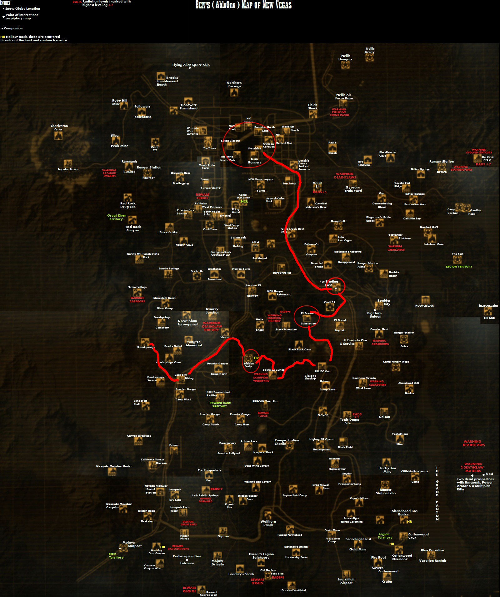 and then keep it north until you reach New Vegas. On your way, sell any  extra stuff you don't need so that you can gather the 2k caps needed to  enter the ...