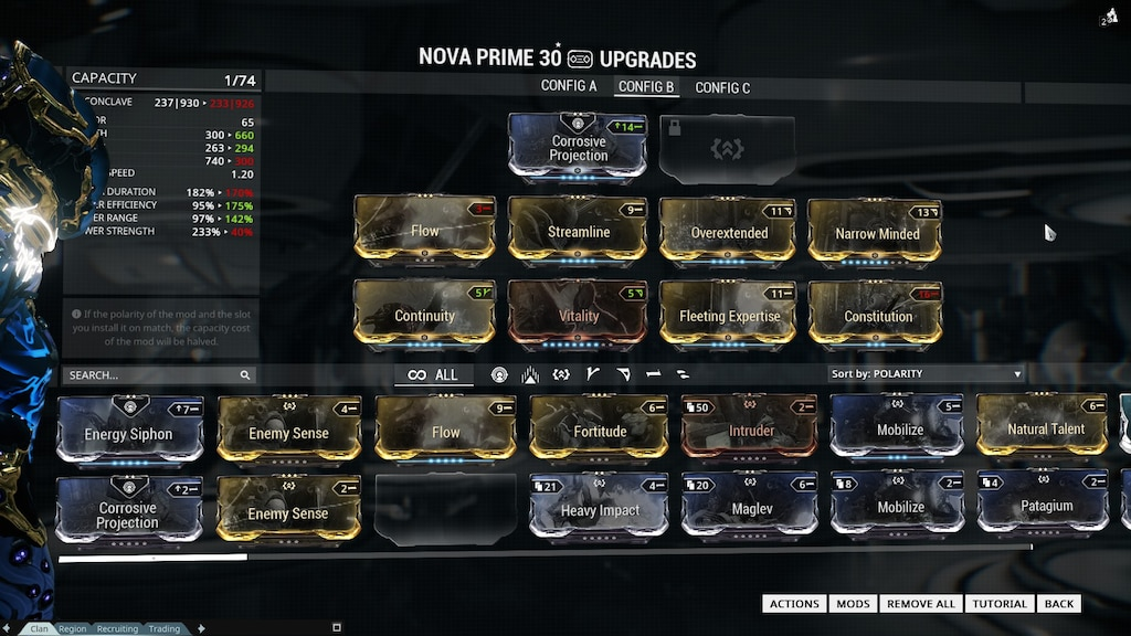 Warframe Speed Nova : She can slow or speed up enemies.
