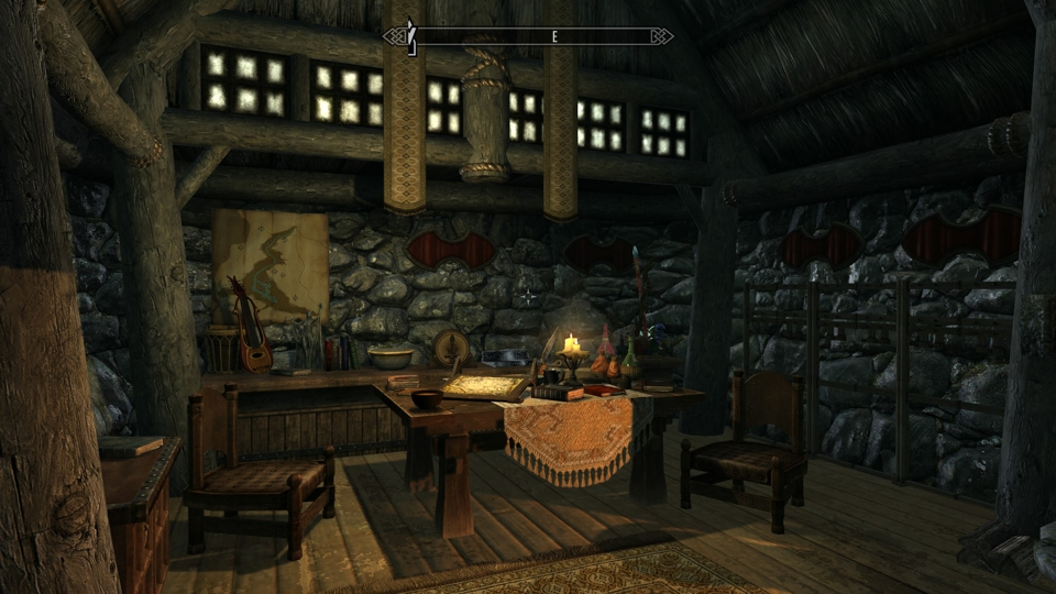 Skyrim Map And Some Decorations That Cannot Be Moved Or Taken Thus Decoration There Are Weapon Wall Mounts Racks In This Living Zone