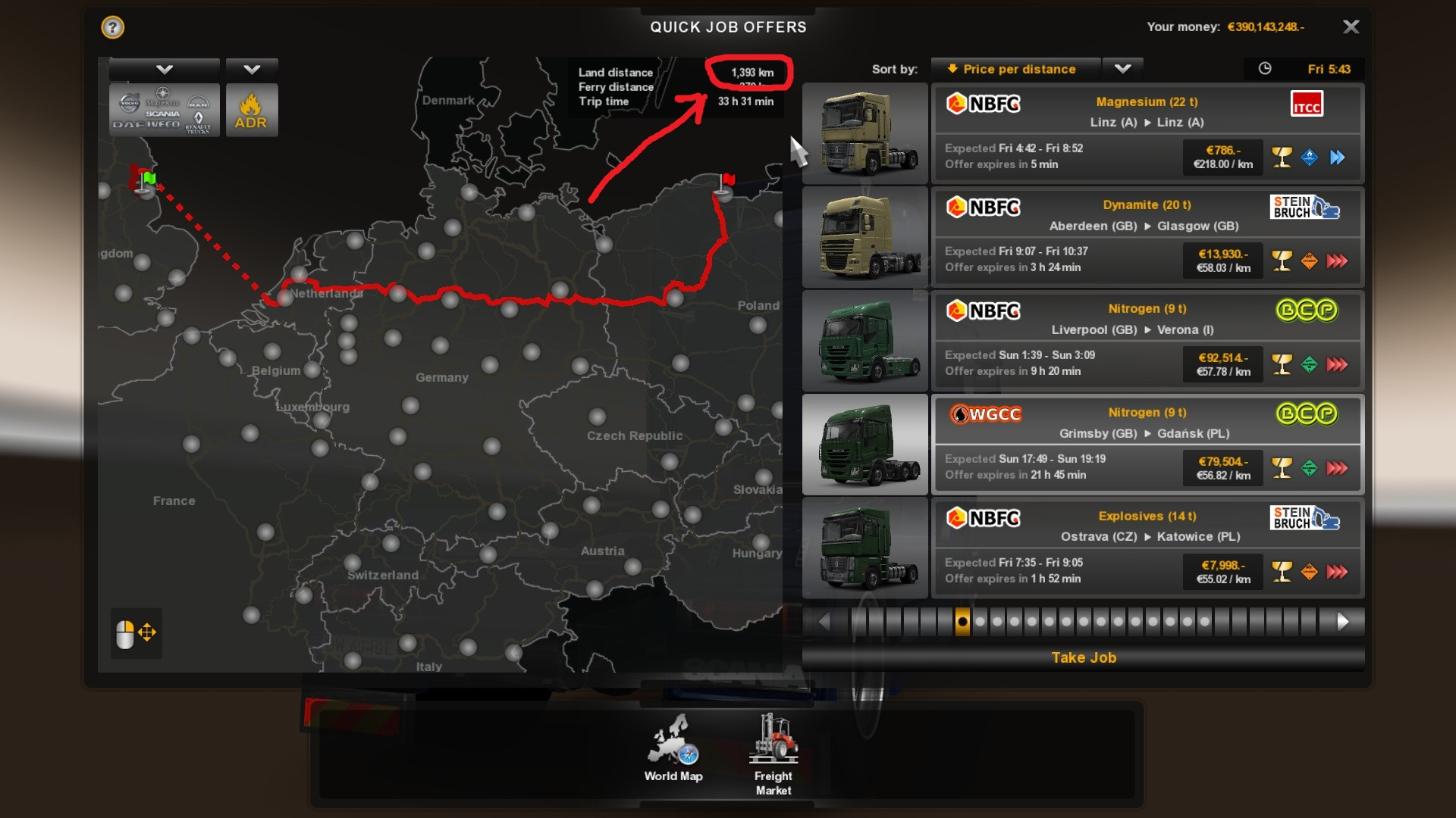 steam community guide ets2 ultimate achievement guide you list your quick jobs as price per distance adr only and search for combination of adr fragile yellow glass long distance >250km urgent