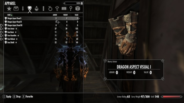 Steam Workshop Wearable Dragon Aspect Armour For Skyrim You need reach smith lvl 100 and some dragon bones and dragon scales. wearable dragon aspect armour for skyrim