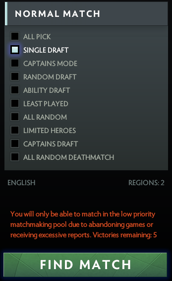 How does normal matchmaking work dota 2