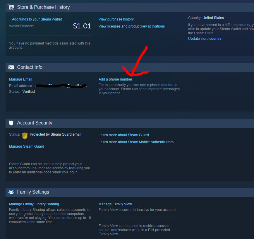 how to add a phone number to steam