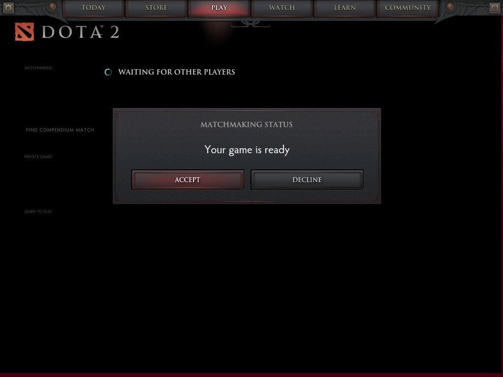 Dopota 2 Matchmaking Status-Bug