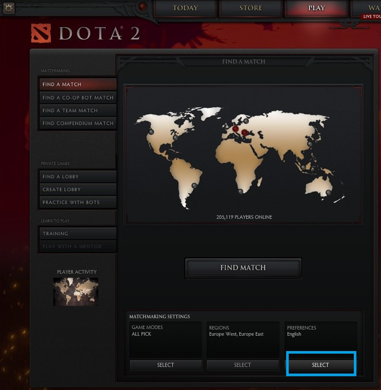 check matchmaking dota 2