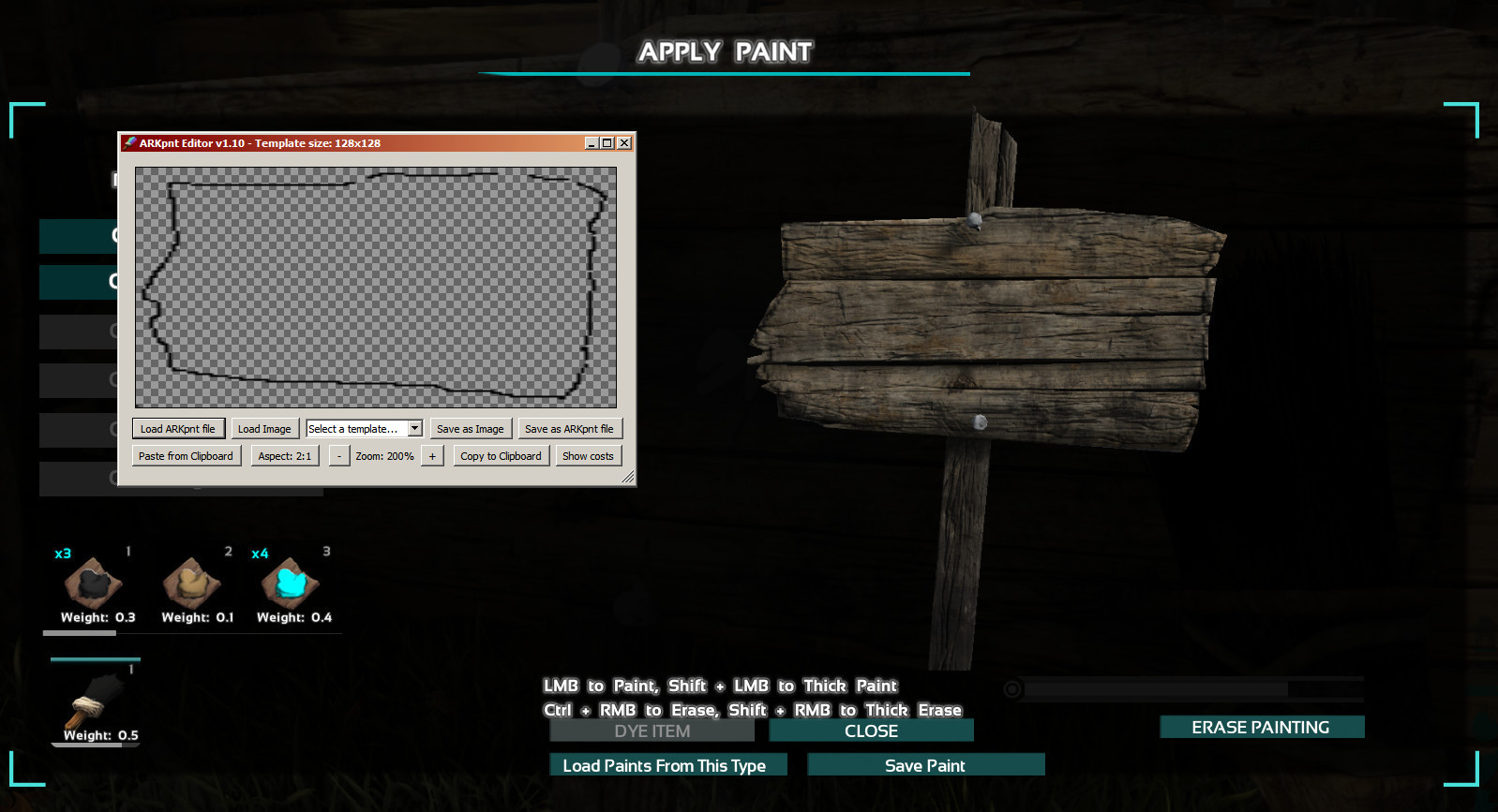 ark paint file in arkpnt editor or to have it show up in the templates menu you can copy it to the templates folder for objects or to the