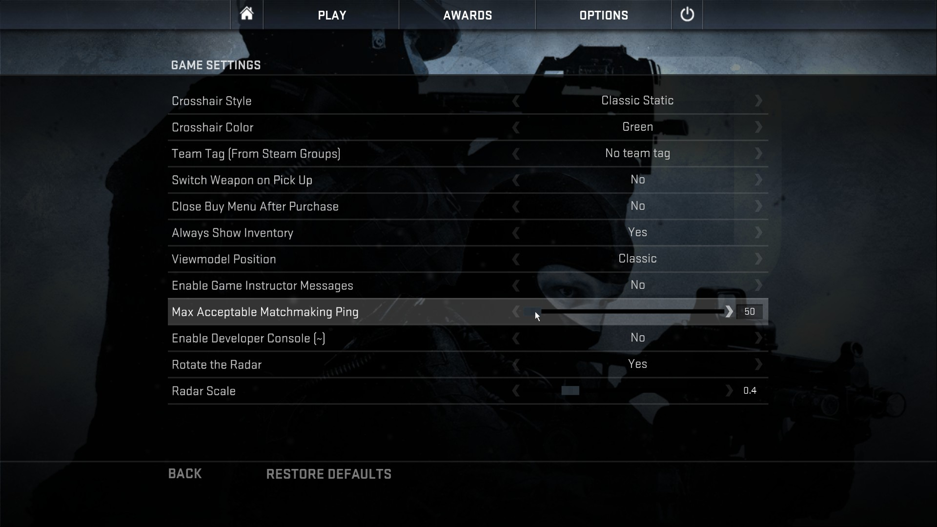 Max acceptable matchmaking ping cs go command