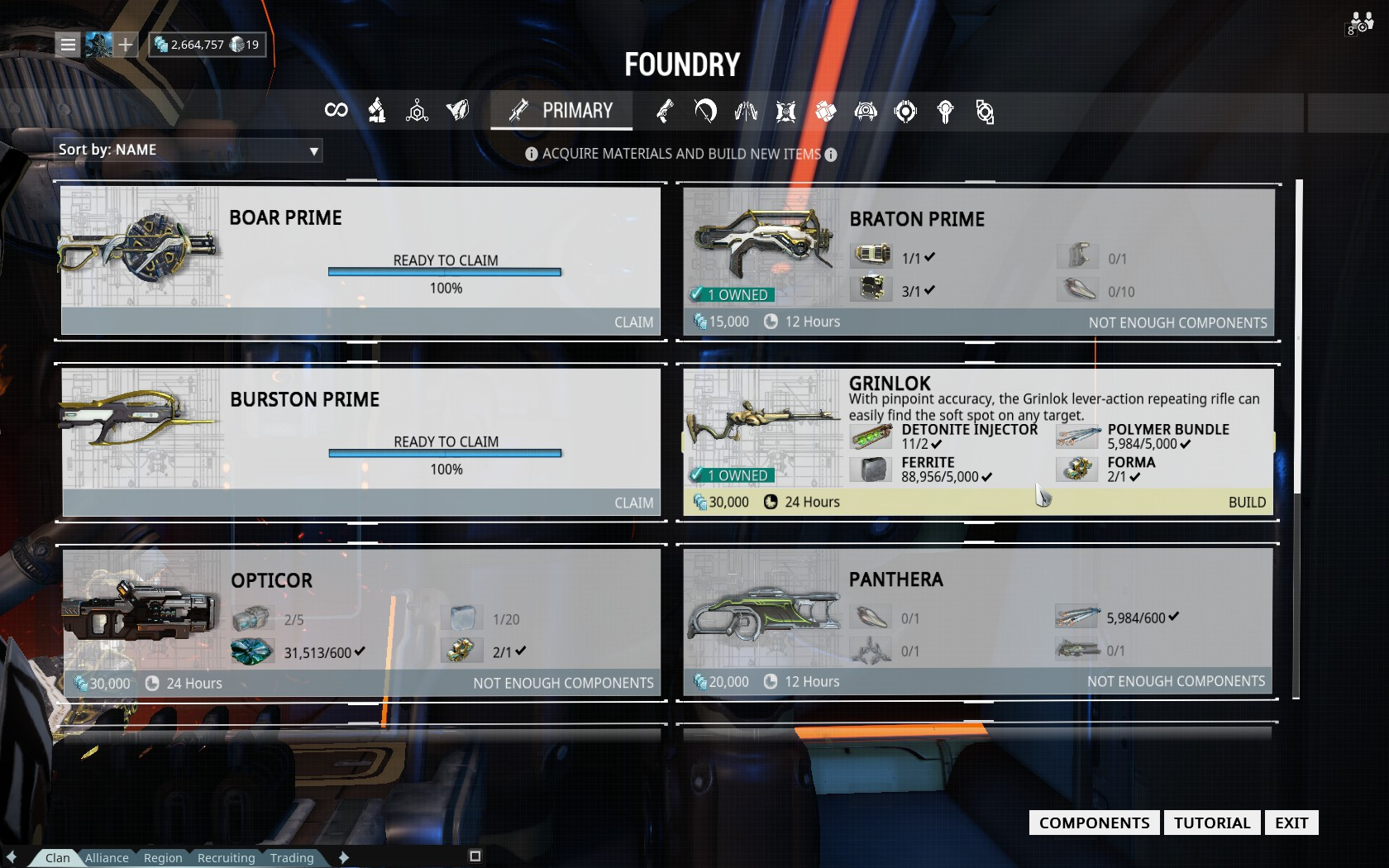 Steam community guide how to grinlok 2 forma the grinlok takes 24h to craft and requires the following materials 30000 credits 15000 to buy the blueprint 5000 polymer 5000 ferrite malvernweather Images