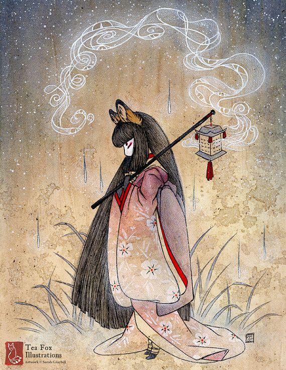 Asian mythology kitune fox women