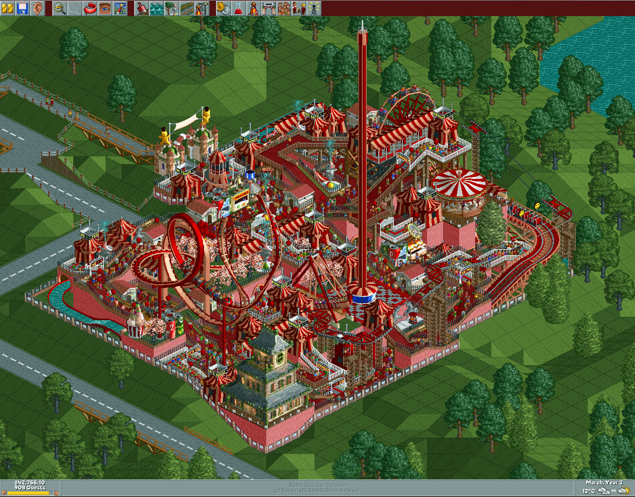 rollerccoaster tycoon how to build a loop