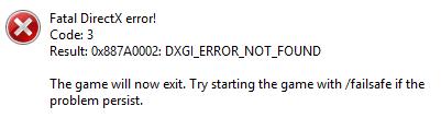 fatal directx error code 2 just cause 2 windows 7 download