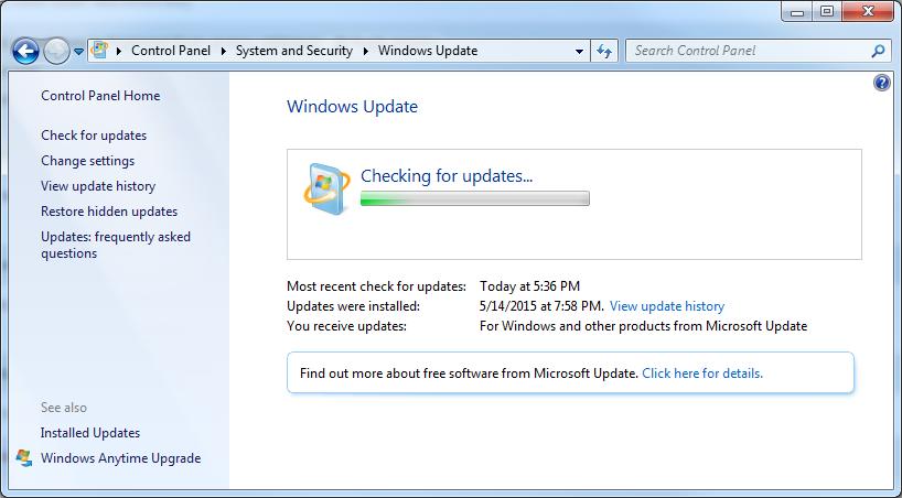 windows update 7 sp1 stuck