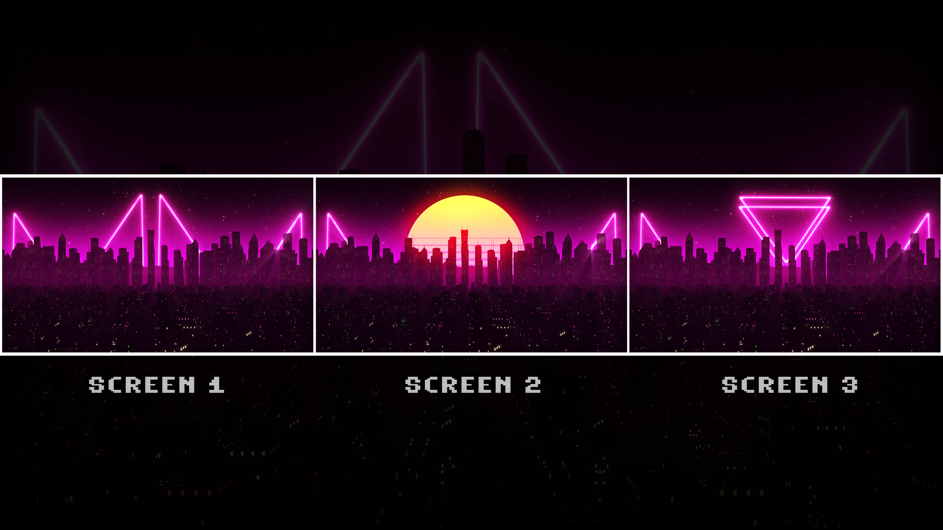 Steam Workshop Retrowave City Triple Monitor